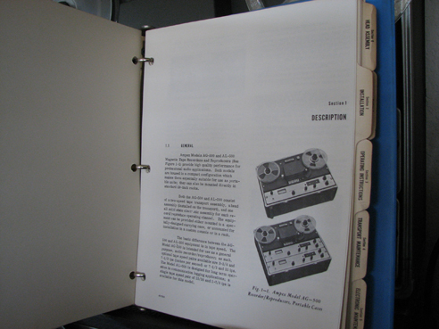 Manual pages for the Ampex AG-500 professional reel tape recorder in the Reel2ReelTexas.com vintage recording collection Museum's vintage collection