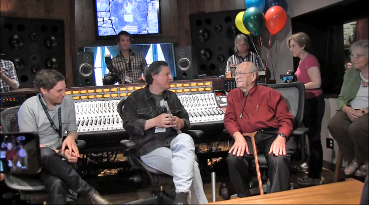 Rupert Neve being interviewed by Billy Crockett during the dedication of the Neve 5088 console in the Blue Rock Studio