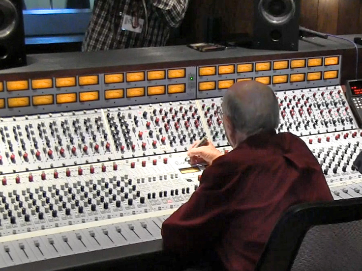Rupert Neve signing Blue Rock Studio's Neve 5088 console - photo in the Reel2ReelTexas.com vintage reel tape recorder recording collection