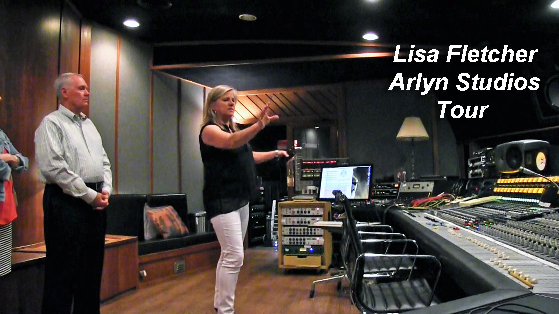 Photo of Lisa Fletcher conducting a tour of Arlyn Studios.Photo is still from video shot for the Museum of Magnetic Sound Recording