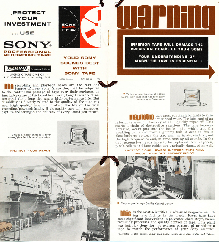 1968 summary about Sony reel to reel recording tape in the Reel2ReelTexas.com's images/R2R/vintage recording collection