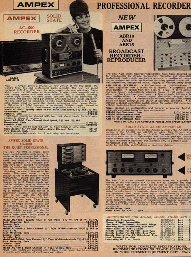 Ad for the Ampex AG-600 Solid State professional reel to reel tape recorder in the Reel2ReelTexas.com vintage recording collection