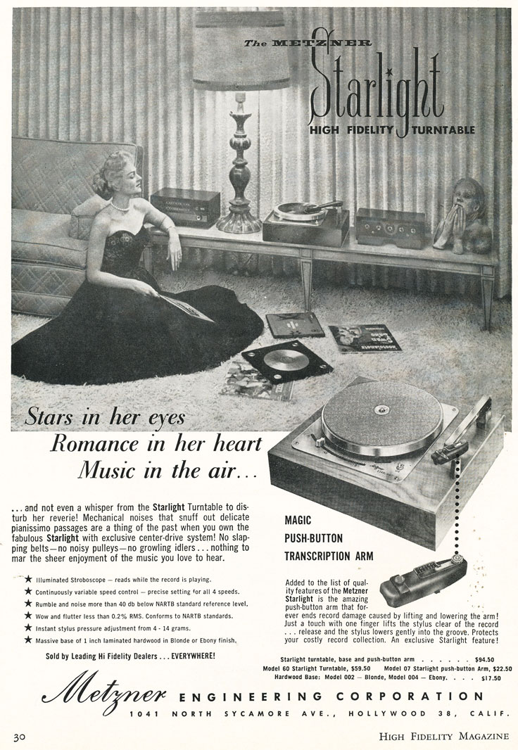 1957 High Fidelity magazine ad for Robert Metzner's Starlight hi end turntable ad in the Reel2ReelTexas.com vintage reel tape recorder recording collection