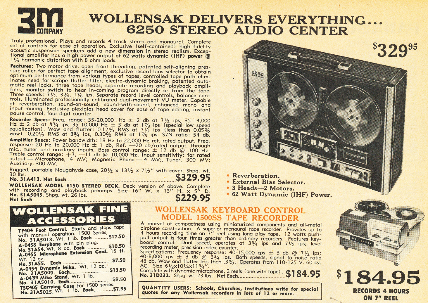 1970 ad for the Wollensak 6250 reel to reel tape recorder in the Reel2ReelTexas.com vintage recording collection