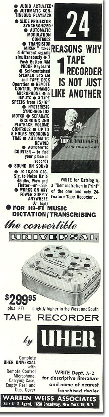 Uher reel tape recorder AD in the Reel2ReelTexas.com vintage recording collection