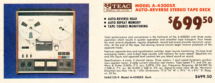 1975 ad for th Teac A-3300SX-2T track professional reel to reel tape recorder ad  in the Reel2ReelTexas.com vintage recording collection Museum