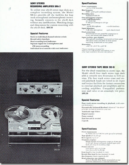 Sterecorder 262 specifications in 1961 Sony catalog in   Phantom Productions images/R2R/vintage reel tape recorder collection