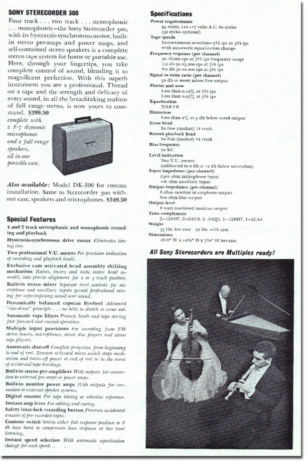 Sterecorder 300 specifications in 1961 Sony catalog in   Phantom Productions images/R2R/vintage reel tape recorder collection