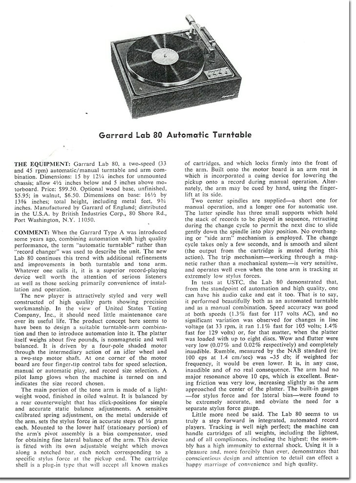 1965 review of the Garrard Lab 80 Transcription turntable in the MOMSR /Reel2ReelTexas /Theophilus vintage reel tape recorder collection