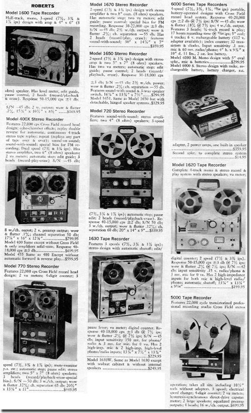 picture of Roberts recorder descriptions from 1966