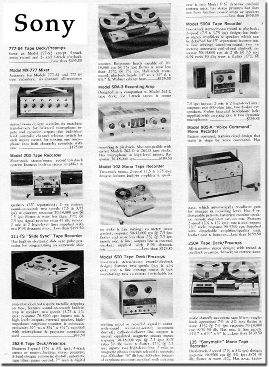 picture of Sony recorder descriptions from 1966