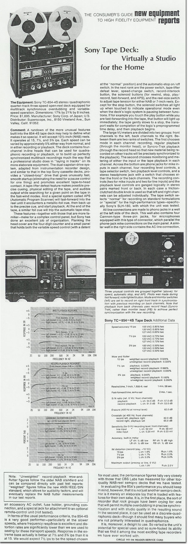 Sony TC-854-4 1972 review