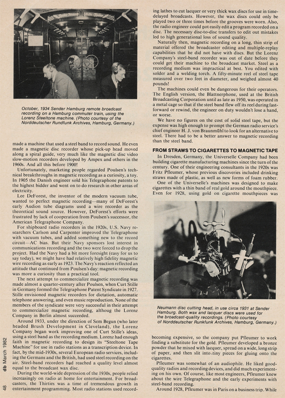 Page 2 of 1982 db magazine article on German reel to reel tape recorders from 1928 to 1945