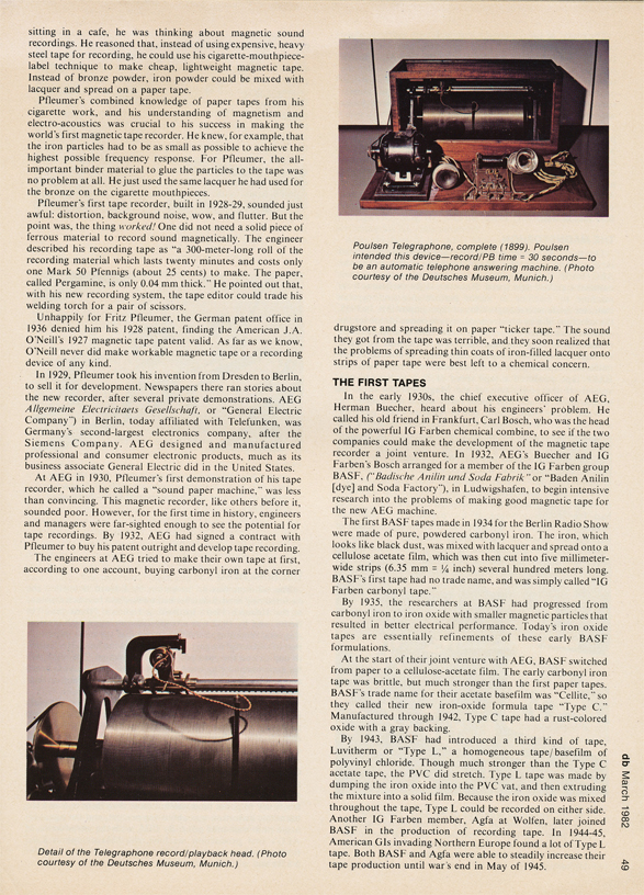 Page 13 of 1982 db magazine article on German reel to reel tape recorders from 1928 to 1945