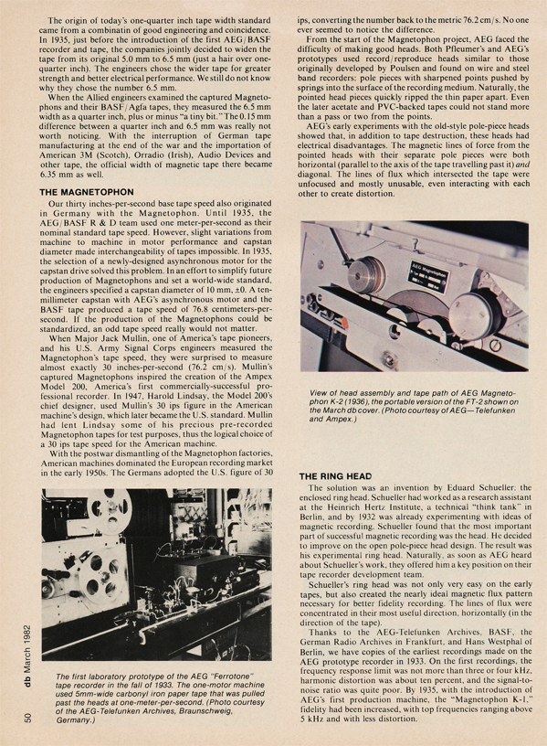 Page 4 of 1982 db magazine article on German reel to reel tape recorders from 1928 to 1945