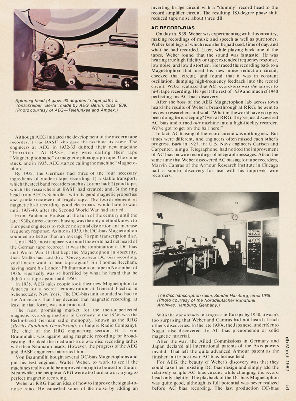 Page 5 of 1982 db magazine article on German reel to reel tape recorders from 1928 to 1945