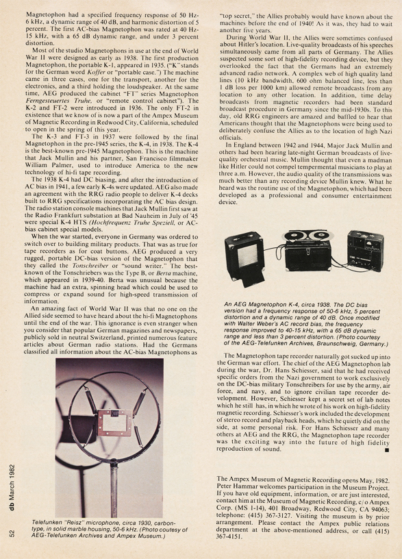Page 6 of 1982 db magazine article on German reel to reel tape recorders from 1928 to 1945