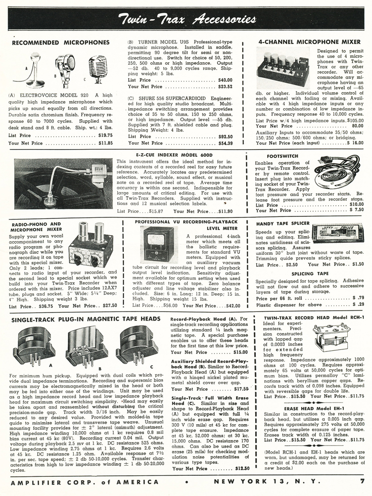 1953 catalog for Amplifier Corporation's reel to reel tpe recorders and supplies including the Magnamite in the Reel2ReelTexas.com vintage recording collection