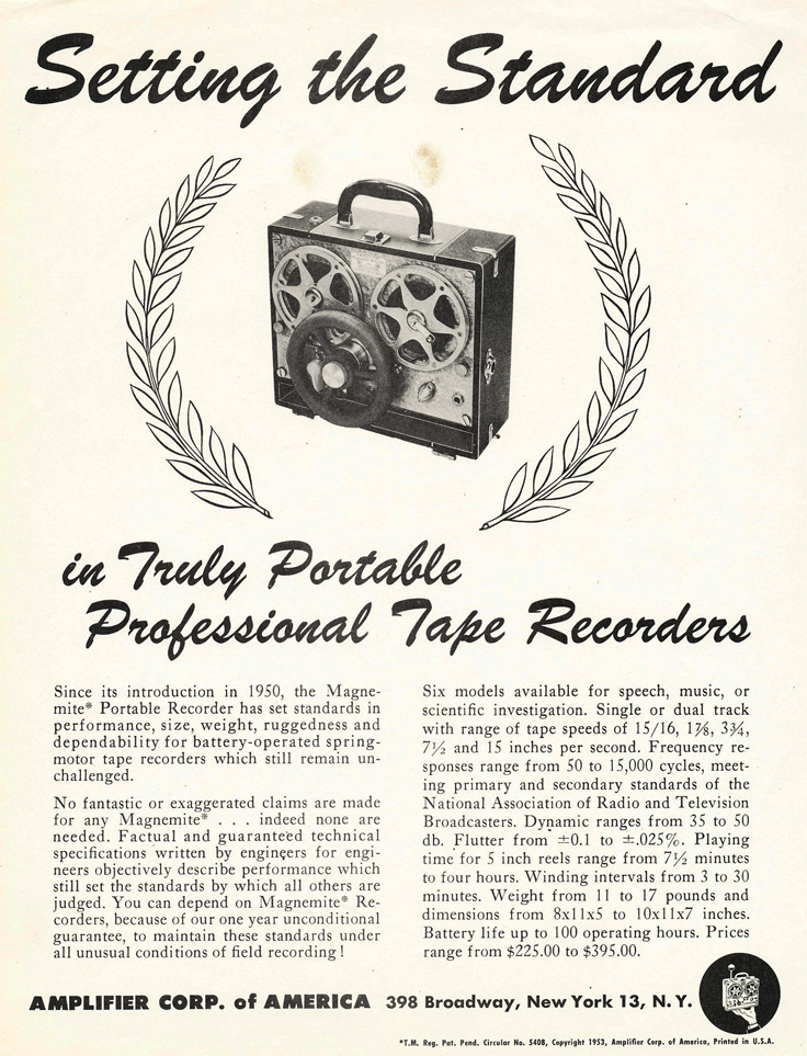 1953 ad for Amplicorp Magnemite 610 VU spring wound reel to reel tape recorder  in the Reel2ReelTexas.com vintage recording collection