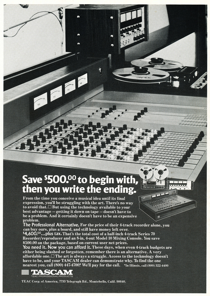 "1975 ad for the Teac Tascam Series 70 1/2"" 8 track professional reel to reel tape recorder and the Teac Tascam Model mixer in the Reel2ReelTexas.com vintage recording collection vintage recording collection"