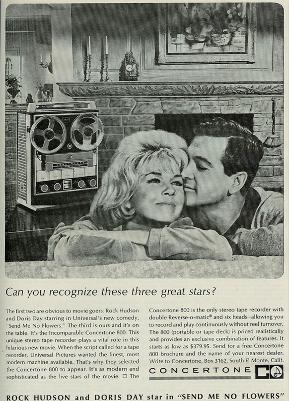 1964 ad for Berlant Concertone 800 reel to reel tape recorder featuring Doris Day and Rock Hudson in the Reel2ReelTexas.com vintage recording collection