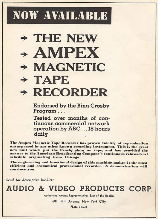 1948 Ampex add  in the Reel2ReelTexas.com vintage reel tape recorder recording collection