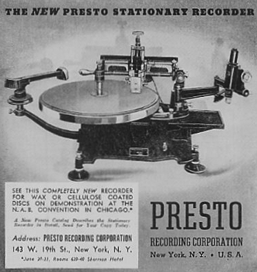 1937 ad for Presto Disc recorders in the Reel2ReelTexas.com vintage reel tape recorder recording collection