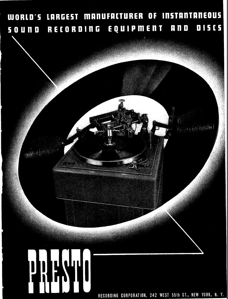 1940 ad for Presto disc recorders in the Reel2ReelTexas.com vintage recording collection
