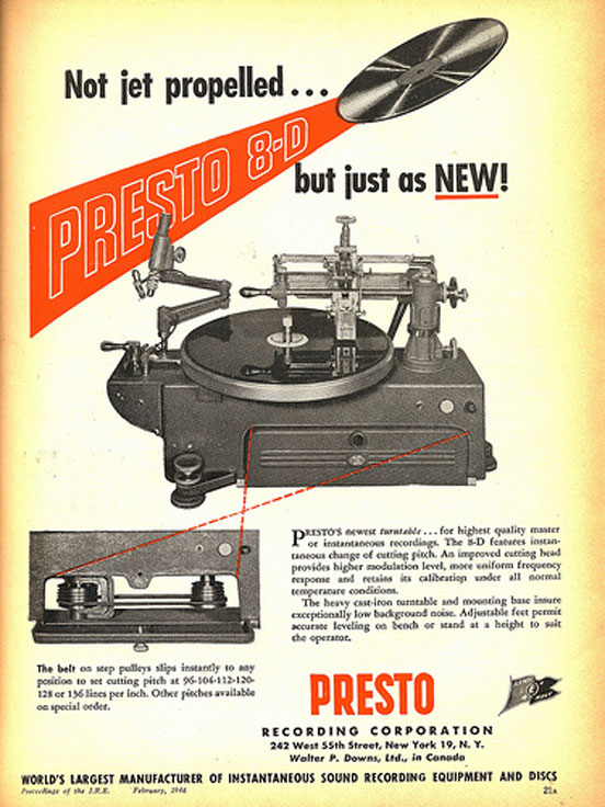 1946 ad for Presto Disc recorders in the Reel2ReelTexas.com vintage reel tape recorder recording collection