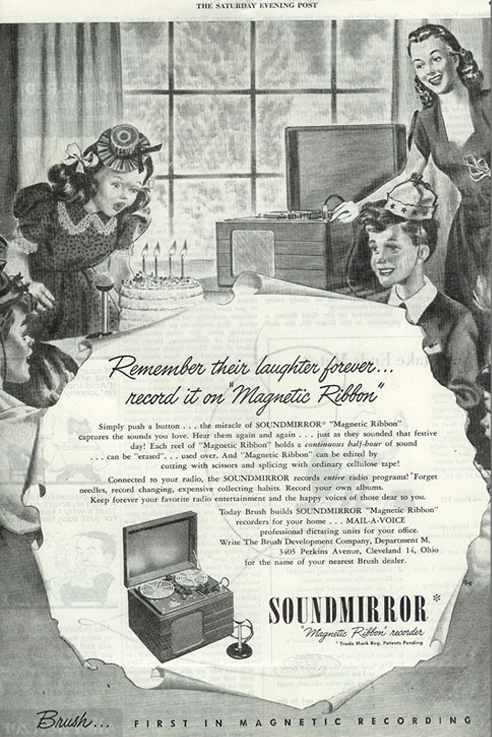 1947 ad for the Brush Sound Mirror reel to reel tape recorder in the Reel2ReelTexas.com vintage recording collection.  This was the first ad in a national US pulication for a reel to reel tape recorder.