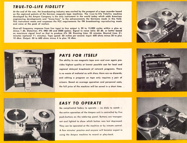 1948 ad for the Ampex 200A magnetic reel to reel tape recorder in the Reel2ReelTexas.com - Museum of Magnetic Sound Recording vintage reel tape recorder recording collection