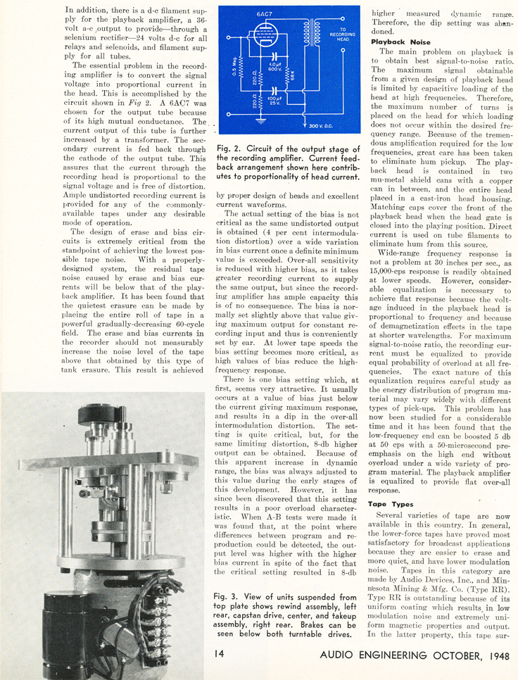 Page 2 of the October 1948 Audio Engineering magazine review of the new Ampex 200A professional reel to reel tape recorder  in the Reel2ReelTexas.com vintage reel tape recorder recording collection