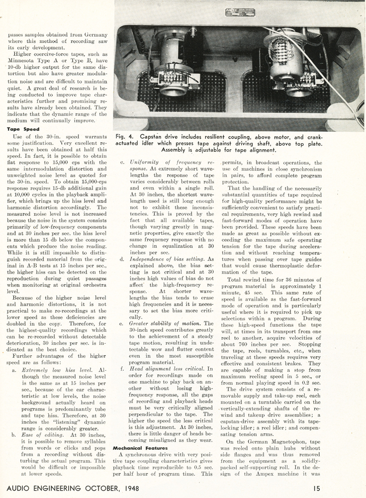 Page 3 of the October 1948 Audio Engineering magazine review of the new Ampex 200A professional reel to reel tape recorder  in the Reel2ReelTexas.com vintage reel tape recorder recording collection
