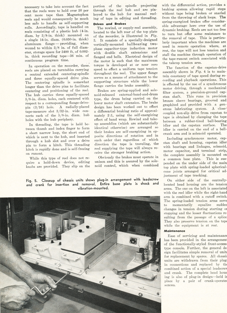 Page 4 of the October 1948 Audio Engineering magazine review of the new Ampex 200A professional reel to reel tape recorder  in the Reel2ReelTexas.com vintage reel tape recorder recording collection