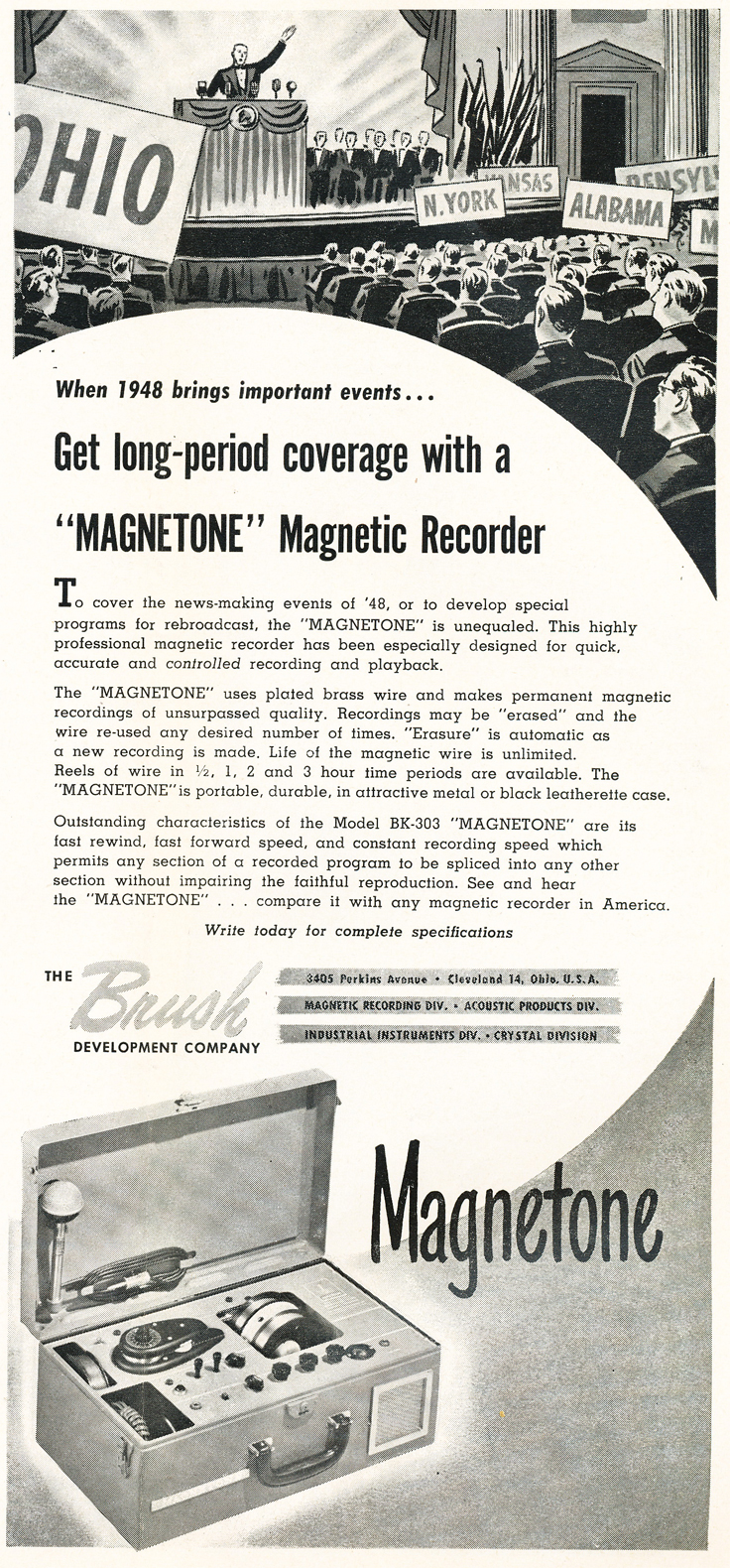 Wire recorder ad  in the Reel2ReelTexas.com vintage recording collection