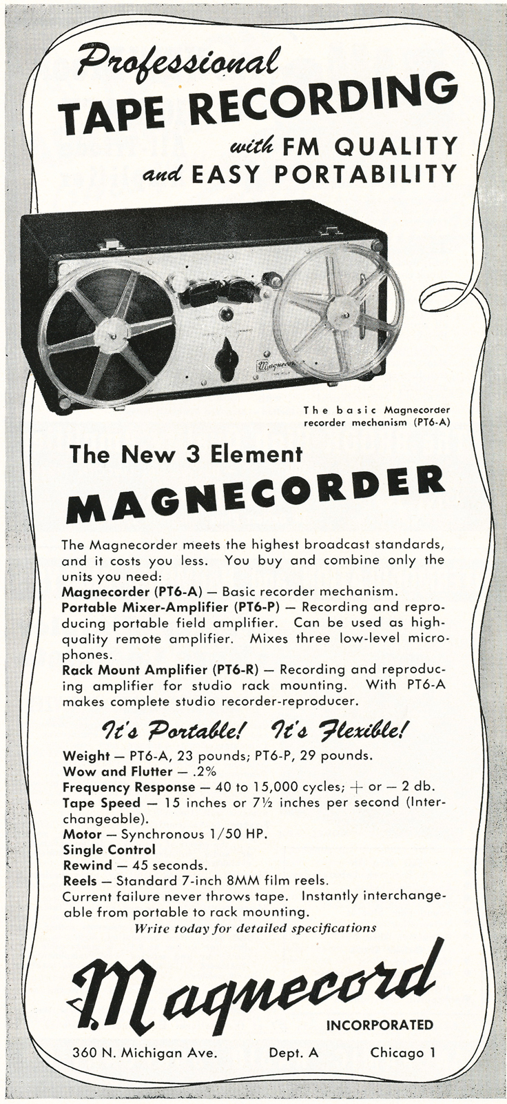 1948 ad for the Magnecord reel to reel tape recorder in the Reel2ReelTexas.com MOMSR vintage recording collection