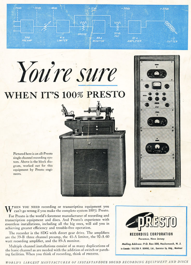 Presto ads from 1948 in the Reel2ReelTexas.com vintage reel tape recorder recording collection