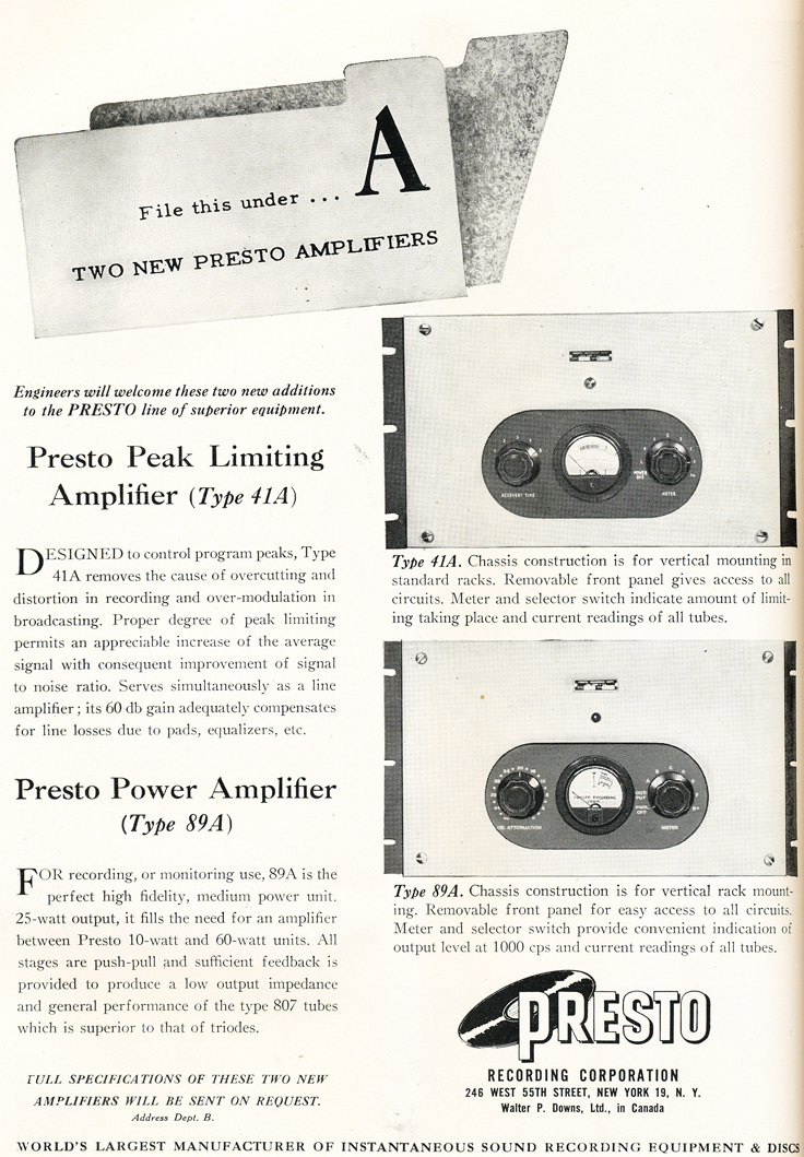 Presto ads from 1948 in the Reel2ReelTexas.com vintage recording collection