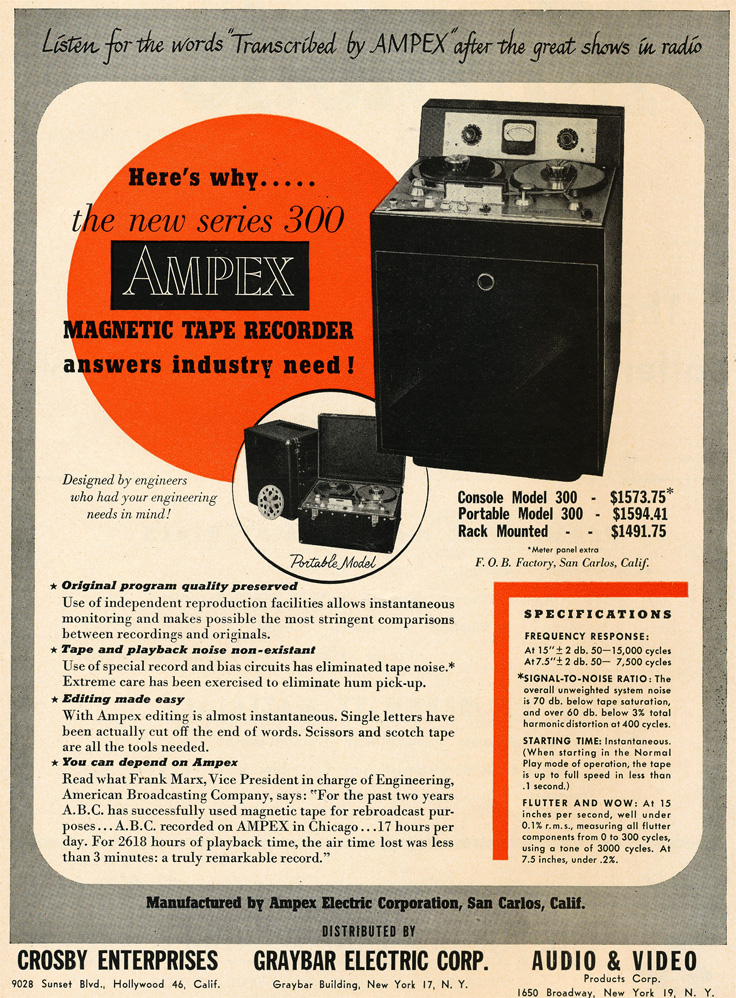 1949 ad for the Ampex 300