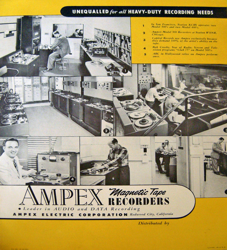 Brochure for the Ampex 300 professional reel to reeel tape recorder in the Reel2ReelTexas.com vintage recording collection
