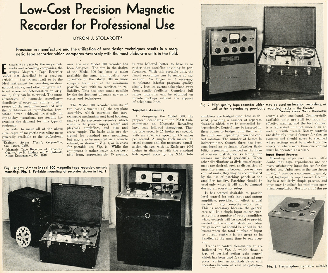 1949 review of the Ampex 300 professional reel to reel tape recorder  in the Reel2ReelTexas.com vintage reel tape recorder recording collection