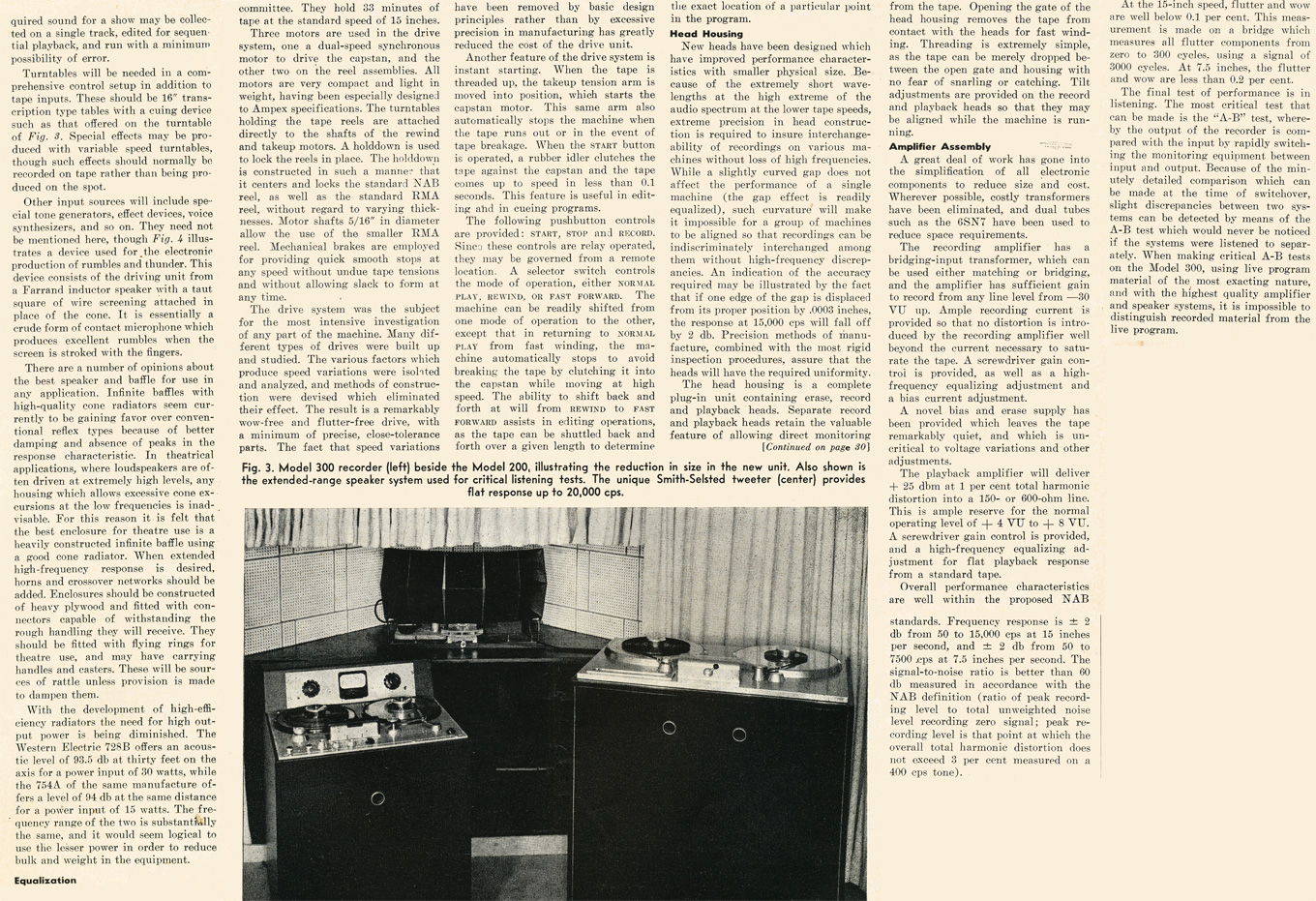 1949 review of the Ampex 300 professional reel to reeel tape recorder in the Reel2ReelTexas.com vintage recording collection