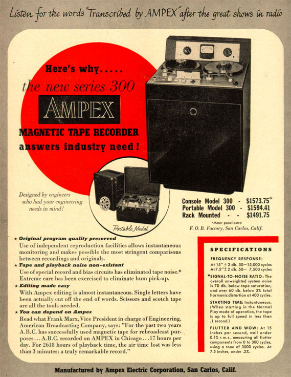 1949 Ampex 300 ad in Reel2ReelTexas.com vintage reel tape recorder collection