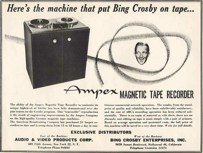 1949 Ampex ad featuring Bing Crosby in Reel2ReelTexas.com vintage reel tape recorder collection