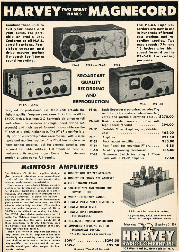 1949 ad for the Magnecord reel to reel tape recorder in the Reel2ReelTexas.com MOMSR vintage recording collection