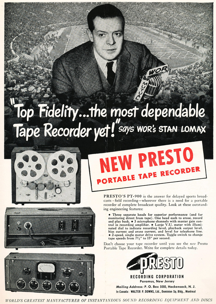 1949 Presto reel to reel tape recorder ad in the Reel2ReelTexas.com vintage recording collection