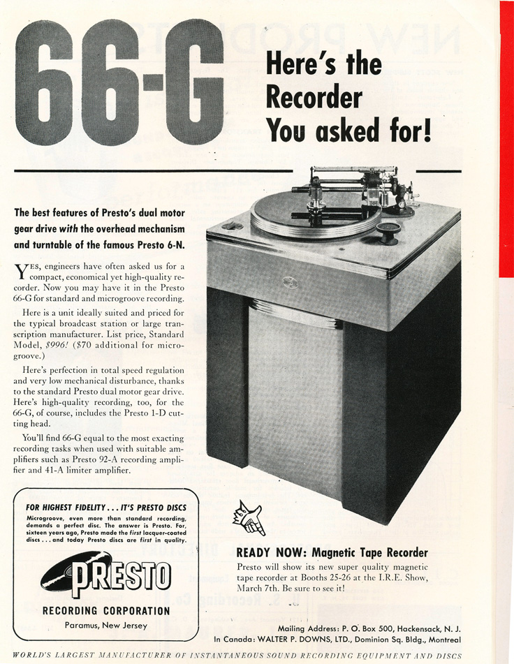 Presto ads from 1949 in the Reel2ReelTexas.com vintage reel tape recorder recording collection