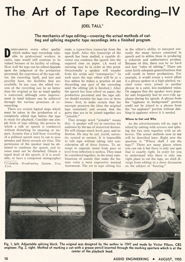 1951 Editall ad the Museum of Magnetic Sound Recording