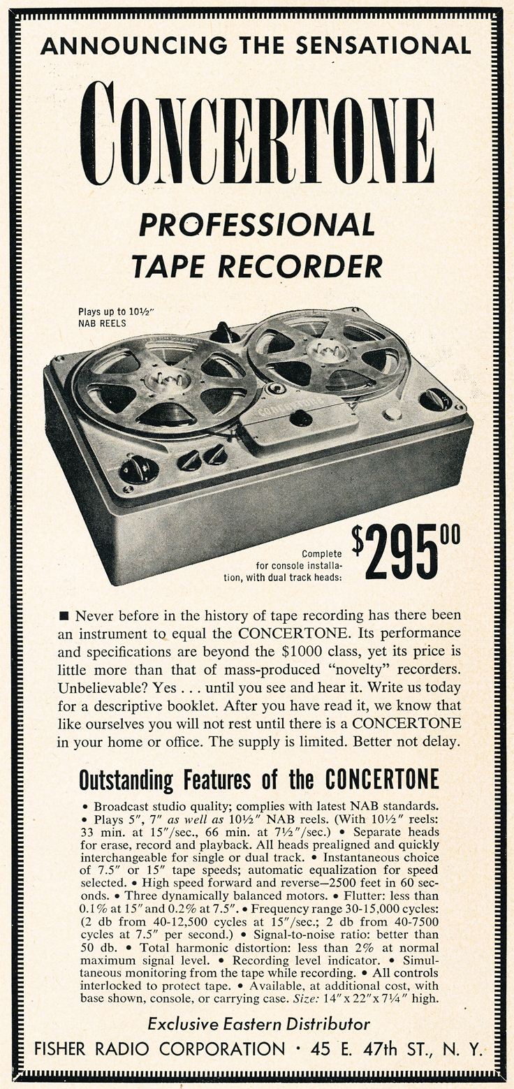 1950 ad for the Berlant Concertone 1401 reel tape recorder in the Reel2ReelTexas.com vintage recording collection