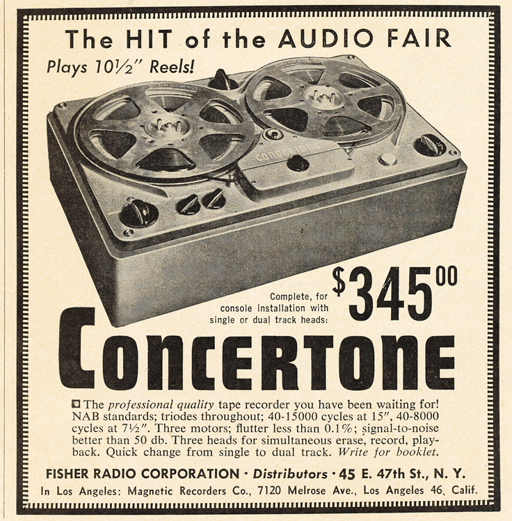 1950 ad for the Berlant Concertone  reel to reel tape recorders in the Reel2ReelTexas.com vintage recording collection